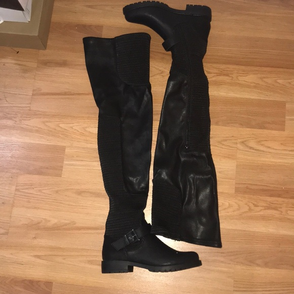 df3f63d08fc Thigh High Flat Leather Boots